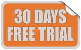 Sticker orange eckig curl oben 30 DAYS FREE TRIAL