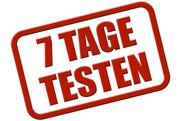 Stempel rot rel 7 TAGE TESTEN