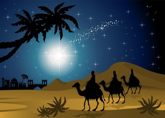 Magi nativity scene in the desert pattern