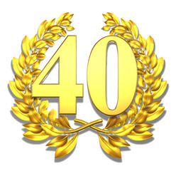 40 fourty number laurel wreath