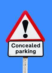 parking information sign on blue sky background
