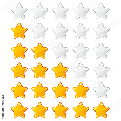 vector yellow shiny rating stars