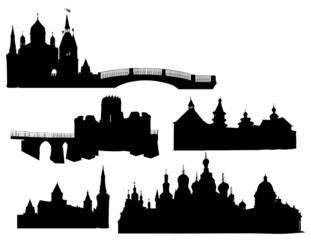 set of isolated castle silhouettes