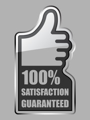 vector glass thumb up satisfaction guaranteed label