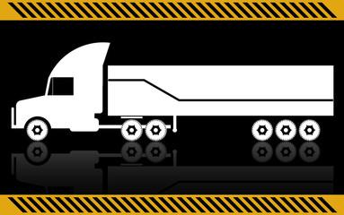 Semi truck, isolated