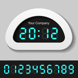 vector blue glowing digital numbers - clock or counter