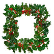 Square holly frame isolated