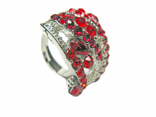 jewelry ring with bright red crystals