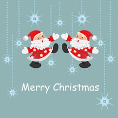 christmas decorations and santa card. vector illustration