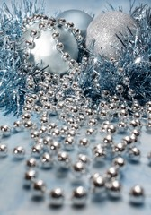 Christmas decorations in blue