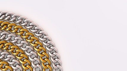 Background of gold and silver chain