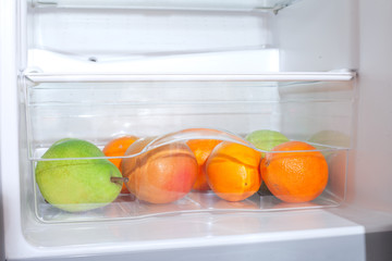 Fruits in fridge.