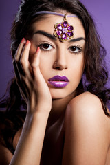 elegant fashionable woman with violet lips