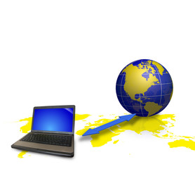 Notebook and earth globe as internet concept