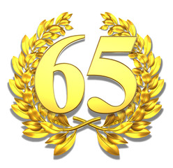 65 sixtyfive number laurel wreath