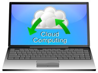 Laptop mit Cloud Computing