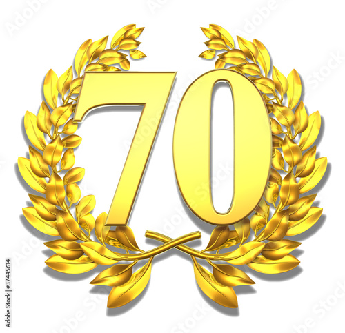 70 seventy number laurel wreath