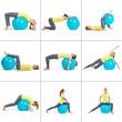Collage mit Frau bei Gymnastikübungen mit Ball