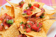 Nachos corn chips with homemade salsa