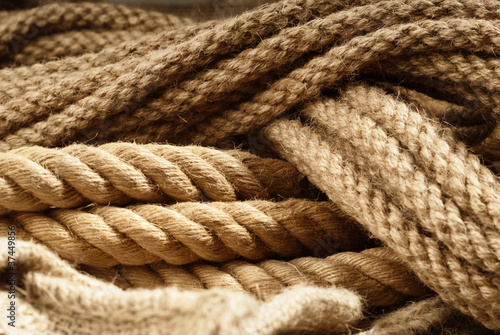 Fiber ropes closeup