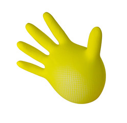 Inflated yellow glove. isolated
