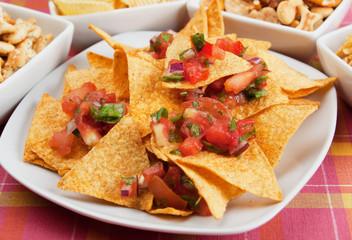 Nachos, corn chips with fresh salsa