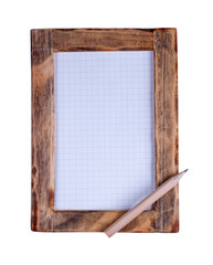 Wooden frame and pencil
