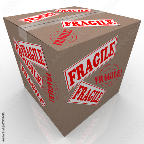 Fragile Cardboard Box Shipment Package Handle with Care