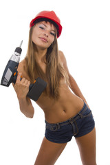 Sexual working woman with a drill