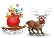Renna e Slitta Natale Cartoon-Reindeer with Sleigh and Toys