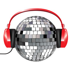 disco ball with red music headphones