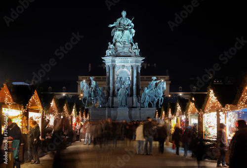 Statue of Empress Marie-Theresa and Christmas Market, Vienna