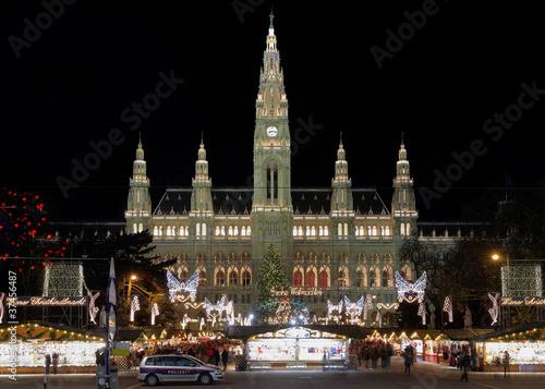 Vienna's City Hall (Rathaus) with Christmas Market, Austria
