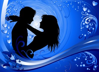 Coppia Amore Sfondo Blu-Lovers Blue Background-Vector