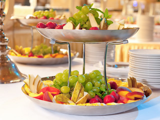 Fruit dish, close up on two tiered fruit dishes