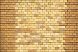 yellow brown brick wall with harmonic pattern poster