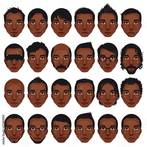 Avatar, men's portraits. Vector isolated hairstyles