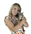 smiling blond girl and holding a cat