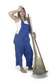gardening girl dressed in workwear poster
