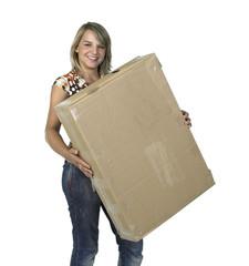 cute girl holding a old cardboard box