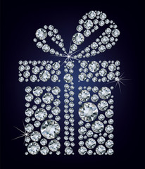 gift present made up a lot of diamonds on the black background