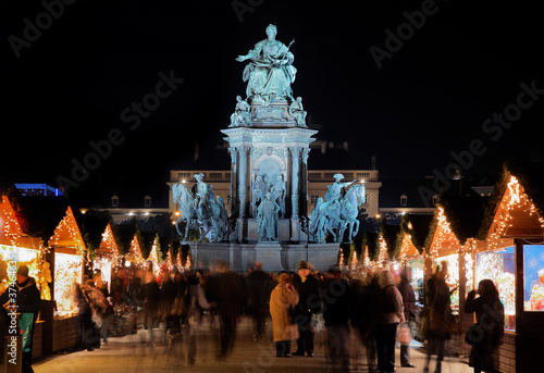 Statue of Empress Marie-Theresa and Christmas Market in Vienna