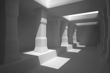 Long corridor of pillars