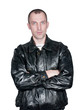 man in a leather jacket isolated