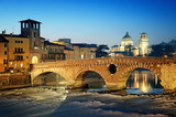 Ponte Pietra and the River Adige at night.. - 37467261