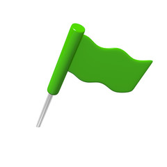 Green flag isolated on white, 3D image