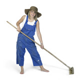 cute girl dressed in workwear while raking poster