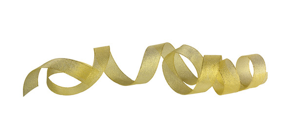 Gold horizontal ribbon with hearts on the white isolated backgro
