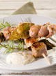 mixed meat skewer with  mustard