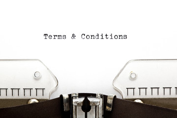 Terms & Conditions on Typewriter